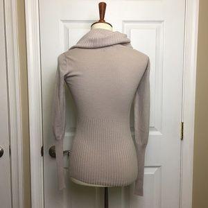 BCBGMaxAzria Sweaters - BCBGMaxAzria Beige Cowl Neck Ribbed Sweater